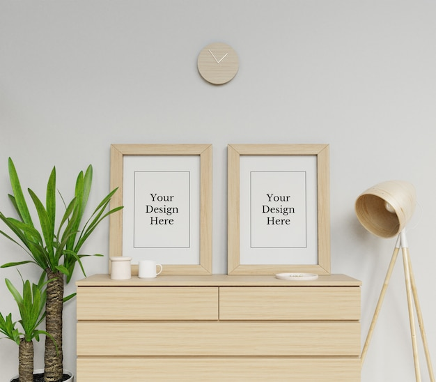 Realistic double poster frame mockup design template sitting portrait in minimalist interior