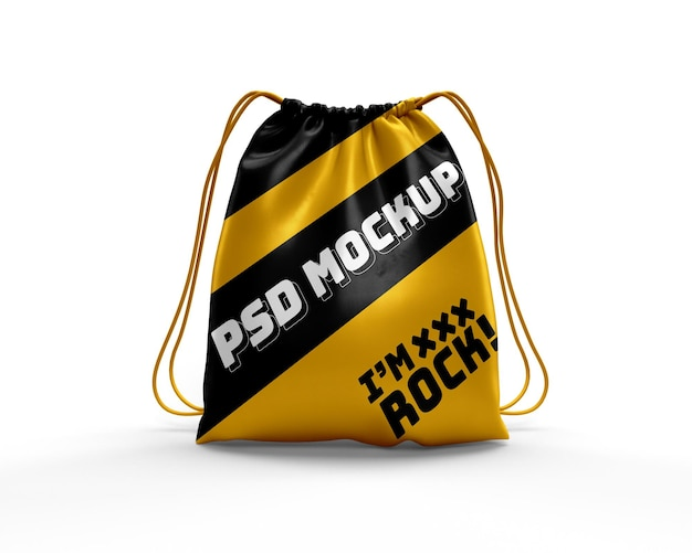 Realistic drawstring bag dynamic backpack mockup