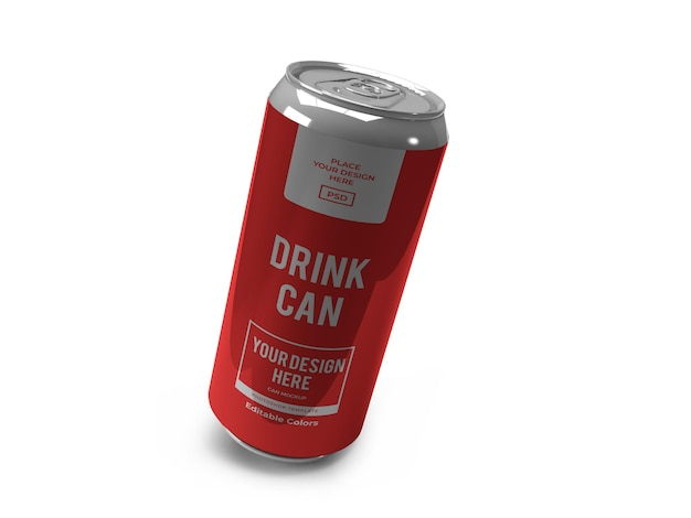 Realistic drink can mockup template isolated