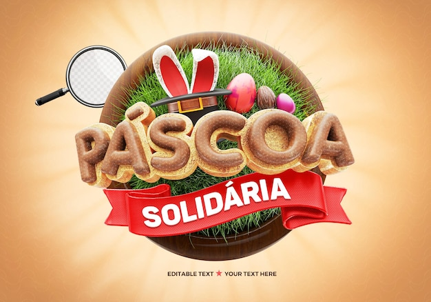 Realistic easter solidarity render in brazilian with rabbit ears