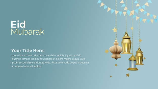Realistic eid social media banner template with 3d rendering