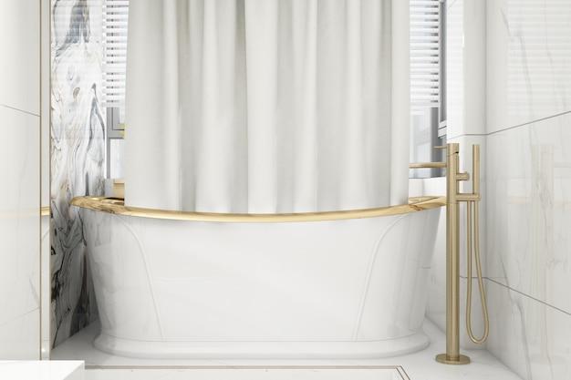 Реалистичная элегантная ванная комната с ванной
