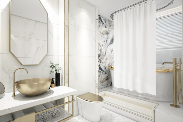 Realistic elegant bathroom with bath
