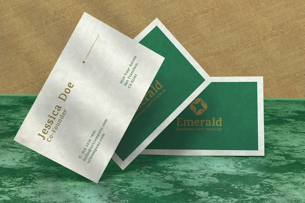 Realistic elegant business cards, front view, close up