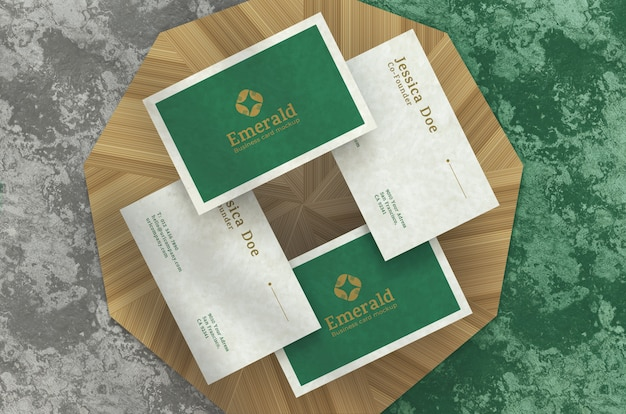Realistic elegant business cards, top view on podium