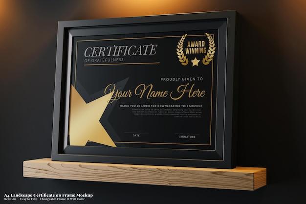 Realistic elegant certificate on frame mockup a4 landscape in modern luxury interior