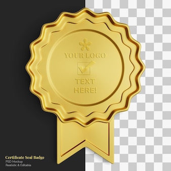 Realistic elegant exclusive royal gold certificate seal badge