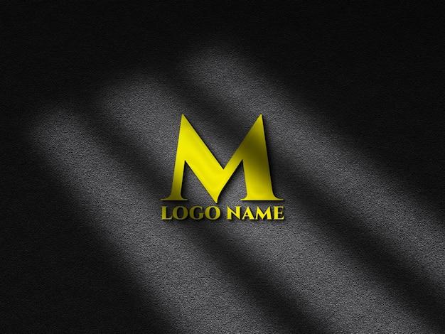 Realistic emboss logo mockup with shadow overlay