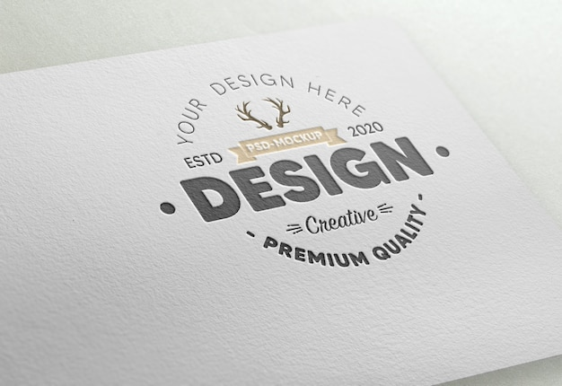 Realistic embossed logo mockup in white paper