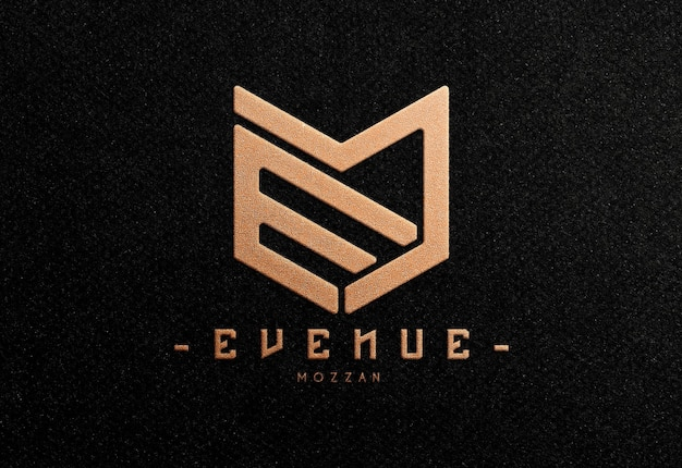 Realistic embossed logo mockup with bronze foil effect in black paper
