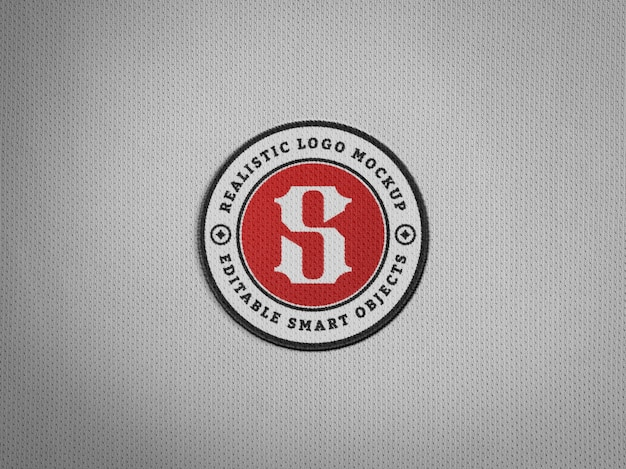 Realistic embroidery logo patch on jersey fabric