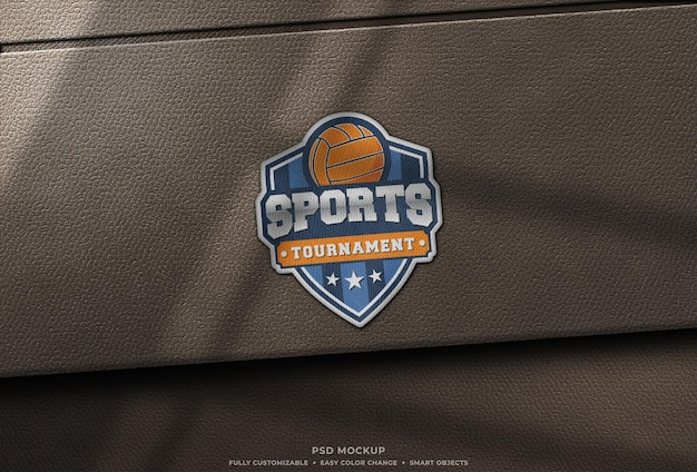 Realistic embroidery logo patch mockup on leather
