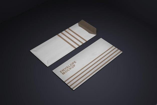 현실적인 봉투 모형 디자인 렌더링