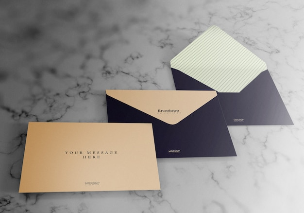 Realistic envelope mockup design with marble textured