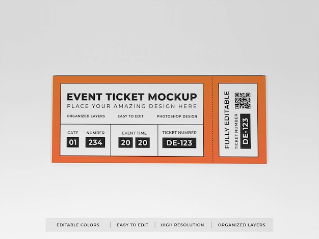 Реалистичный макет билета на мероприятие