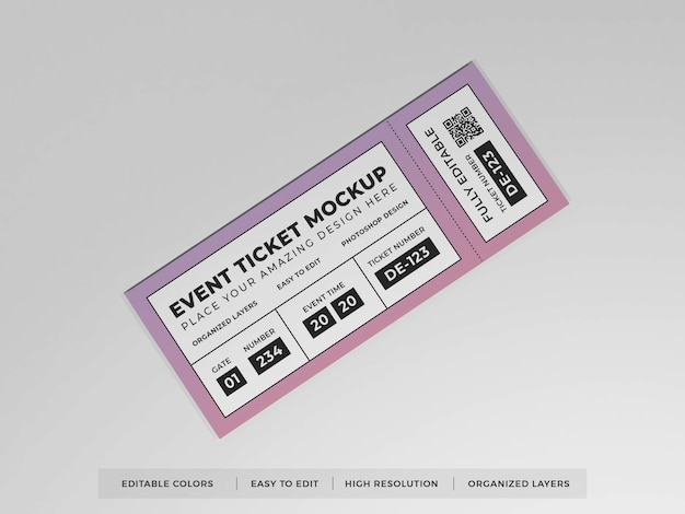 Realistic event ticket mockup