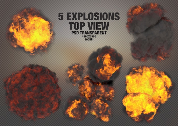 Realistic explosions top view