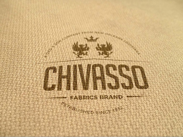 Realistic fabric logo mockup