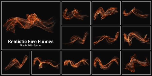 Realistic fire flames smoke with sparks collection