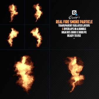 Realistic fire smoke particle isolated overlay Premium Psd