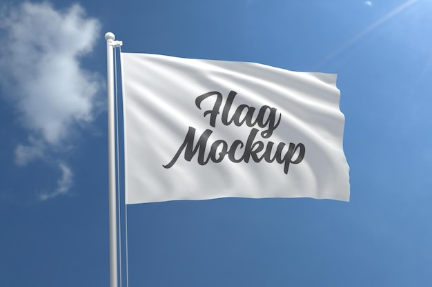 Realistic flag mockup with blue sky