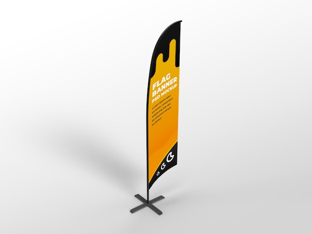 Realistic flag vertical banner advertising and branding campaign mockup