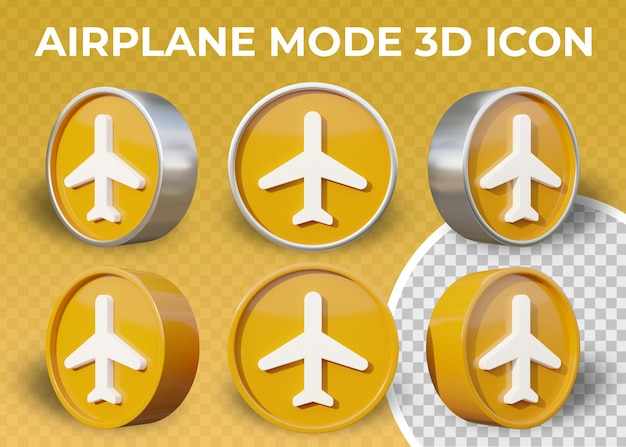 Realistic flat 3d airplane mode icon isolated