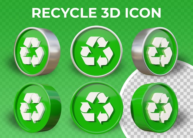 Realistic flat 3d recycle icon isolated