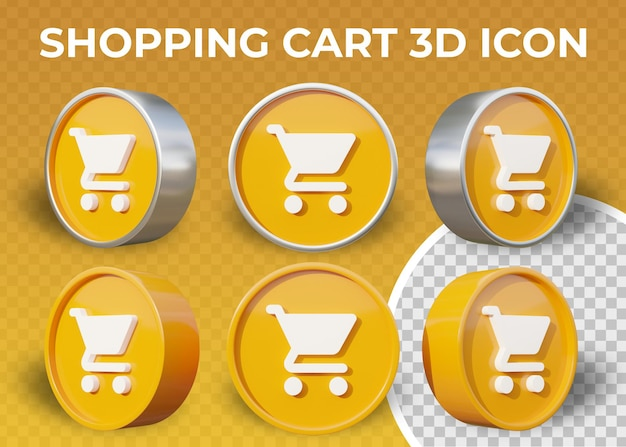 Realistic flat 3d shopping cart icon isolated