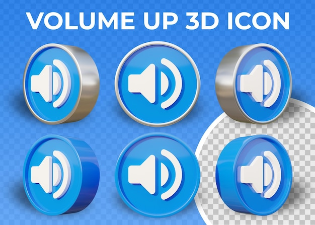 Realistic flat 3d volume up or full volume icon