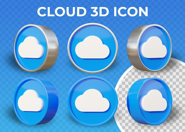 Реалистичные плоские облака изолированные 3d значок
