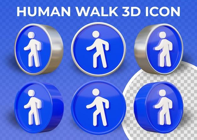 Реалистичная плоская человеческая прогулка изолировала 3d значок
