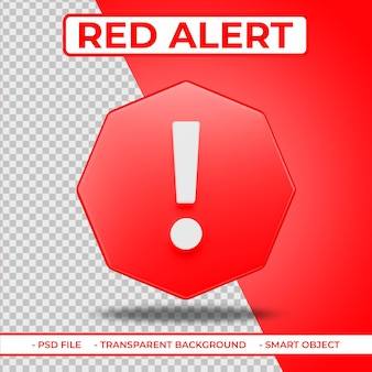 Realistic flat red alert or report 3d icon isolated