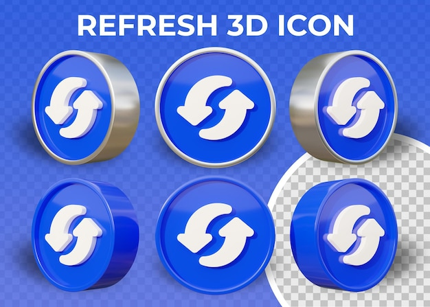 Realistic flat refresh isolated 3d icon