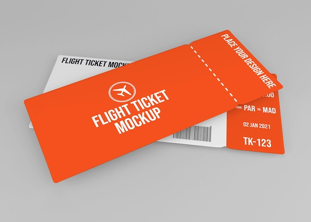 Realistic flight ticket mockup design isolated