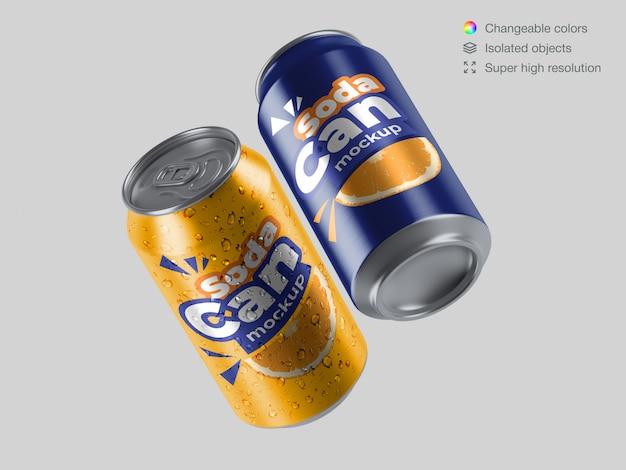Realistic floating aluminium soda cans mockup template