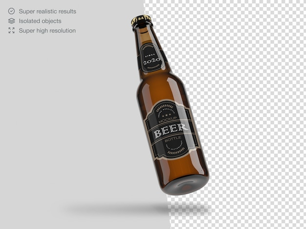 Realistic floating beer bottle mockup template