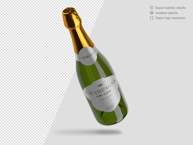 Realistic floating champagne bottle mockup template