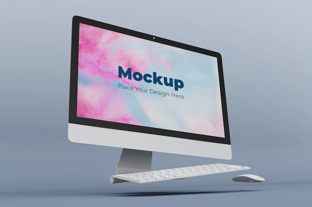 Realistic floating desktop screen mockup design template