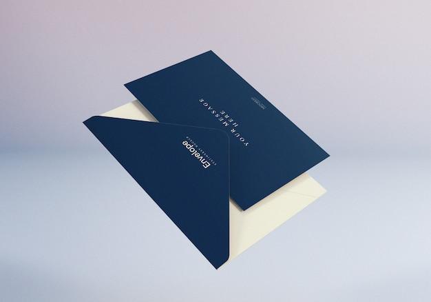 Realistic floating envelope mockup