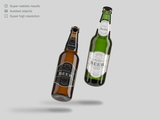 Realistic floating green and brown glass beer bottle mockup template