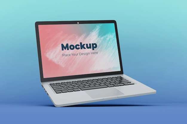 Realistic floating laptop display mockup design template