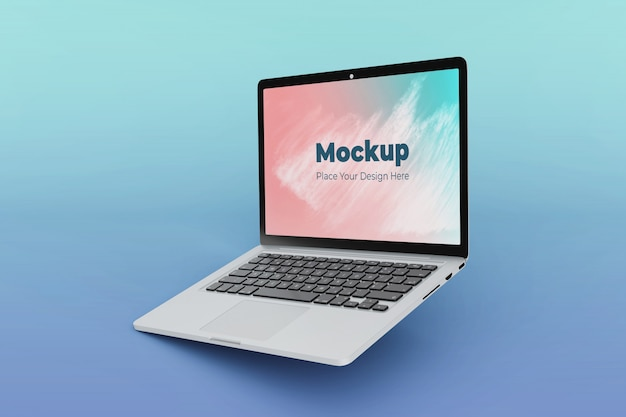 Realistic floating laptop mockup design template