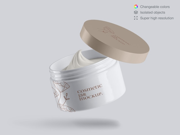 Realistic floating opened plastic cosmetic face cream jar mockup template