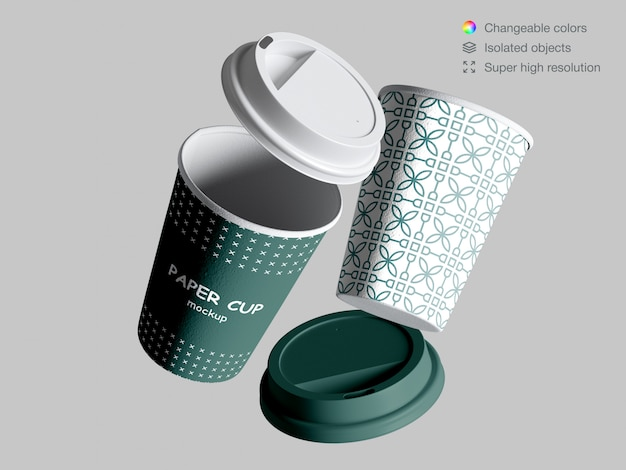 Realistic floating paper cups mockup with lids