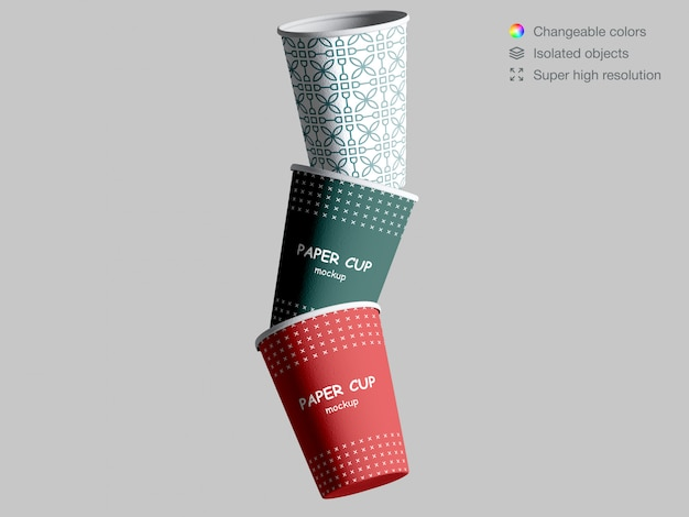 Realistic floating paper cups mockup