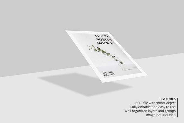 リアルなフローティング紙やチラシのパンフレットのモックアップデザイン