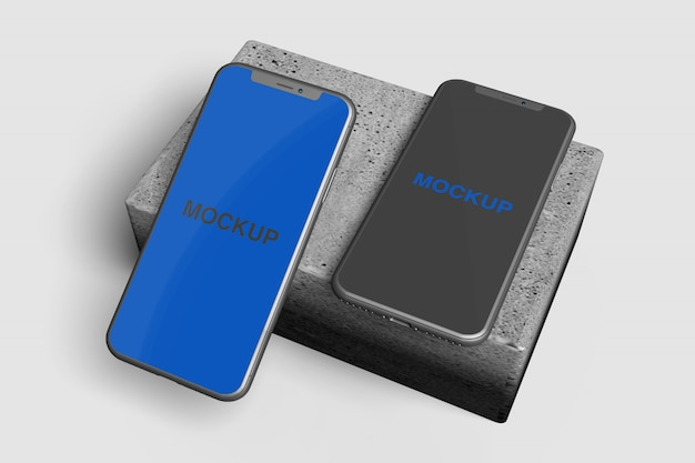 Realistic floating smartphone mcokup