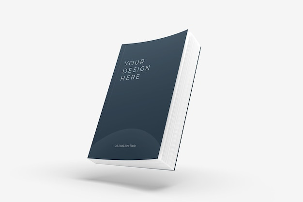 Realistic floating soft cover book mockup
