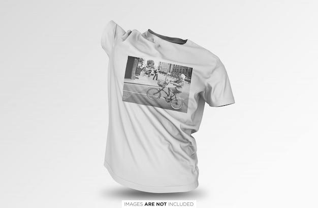 Realistic floating unisex t shirt psd mockup